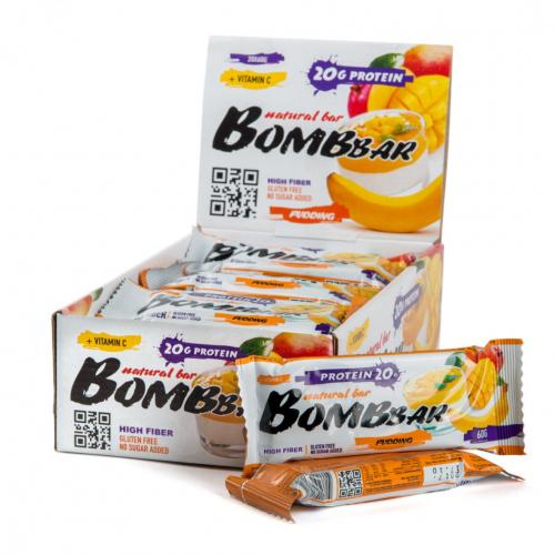 Батончик неглазированный Манго-банан 60гр (Bombbar)