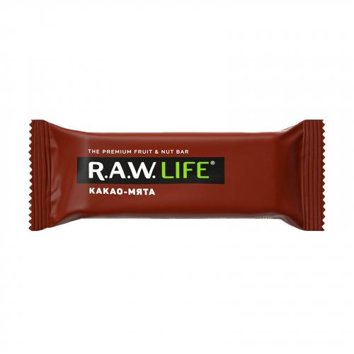 Батончик Какао- мята 47гр (Raw life)