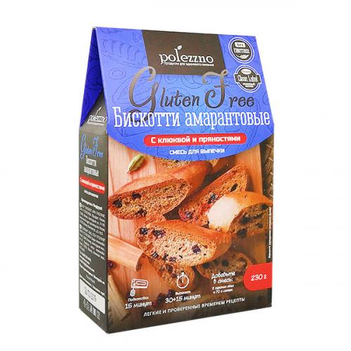 Смесь Бискотти амарантовые с клюквой 230гр (Полеззно)