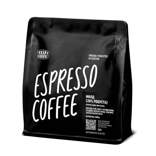 Кофе Милд 20% в зернах 250гр (Tasty Coffee)