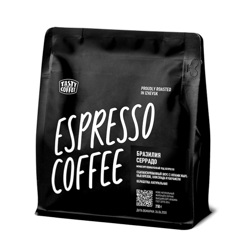 Кофе Бразилия Серрадо в зернах 250гр (Tasty Coffe)