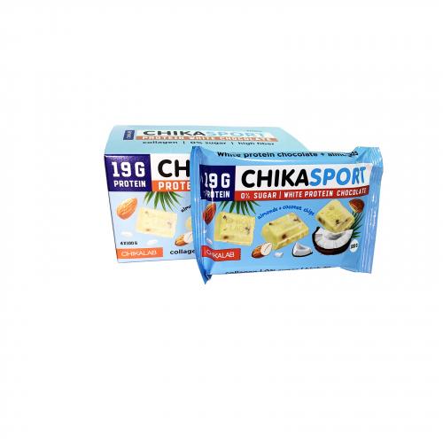 Шоколад белый с миндалем и кокосовыми чипсами 100гр (CHIKALAB)